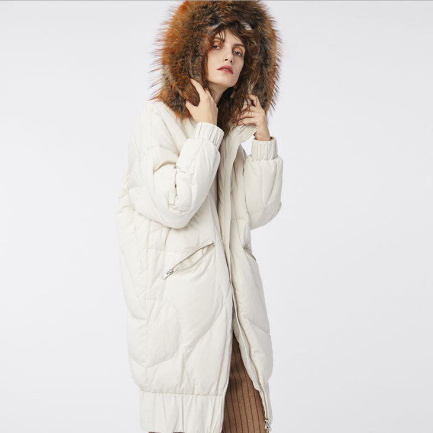 Wholesale Anti-season promotion big real fur hooded warm   down   jacket female hooded white goose   down     coat   for cold weather wq2263