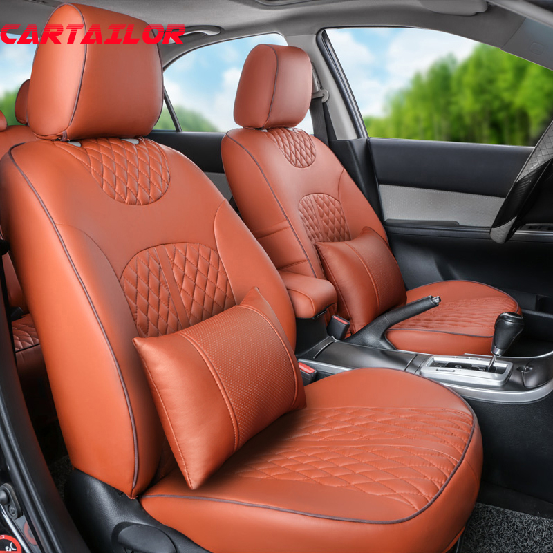 CARTAILOR cover seats for Lincoln MKC car seat cushions full set PU leather seat cover set black seat covers cars accessories