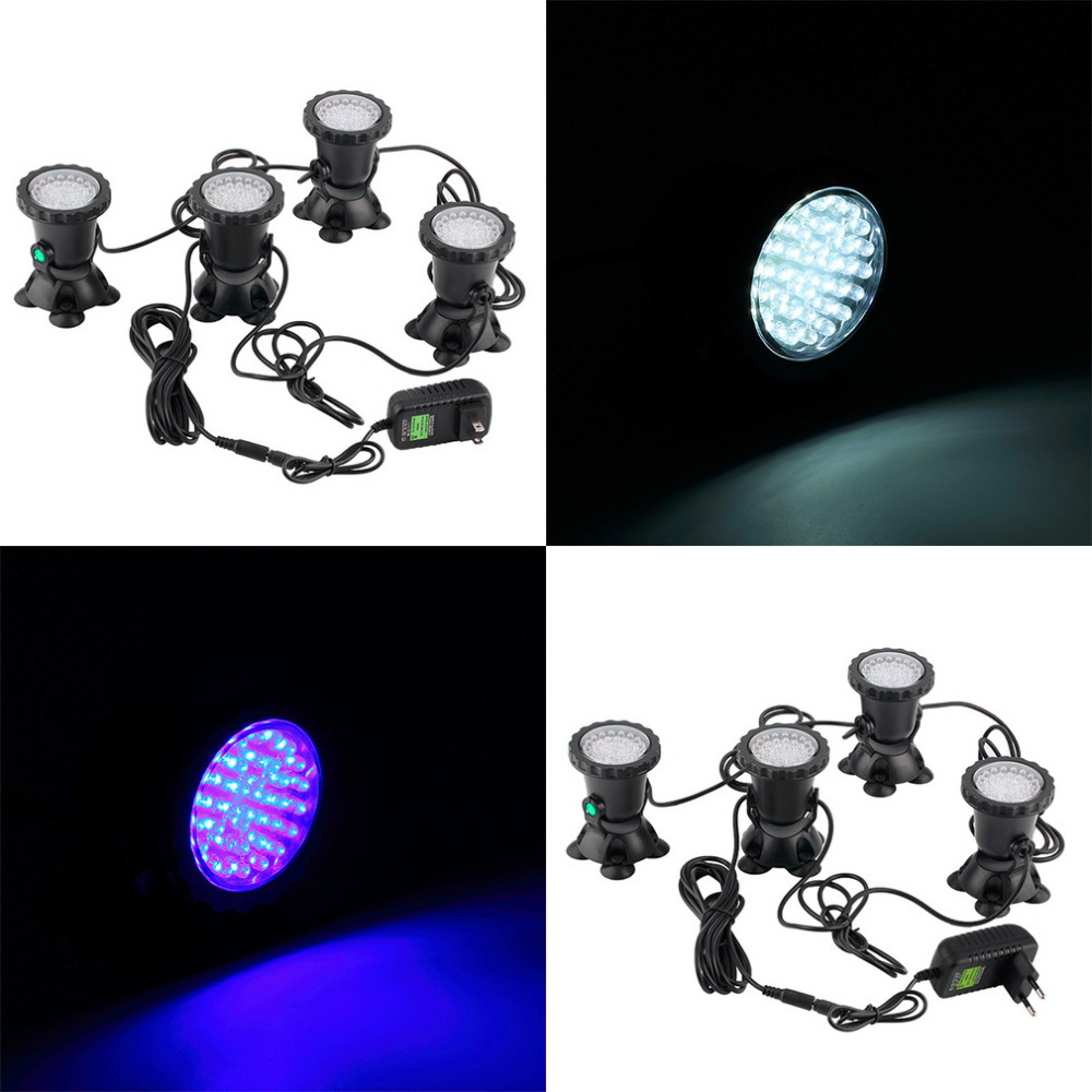 1pcs high quality 4pcs Underwater Garden Fountain Fish Tank Pool Pond 36LED Spot Light New for EU plug White1pcs high quality 4pcs Underwater Garden Fountain Fish Tank Pool Pond 36LED Spot Light New for EU plug White