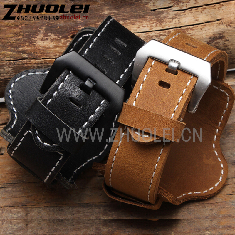 High quality genuine leather watchband with tray bracelet with stainless steel buckle for fossil PA handmade watch strap 22 24