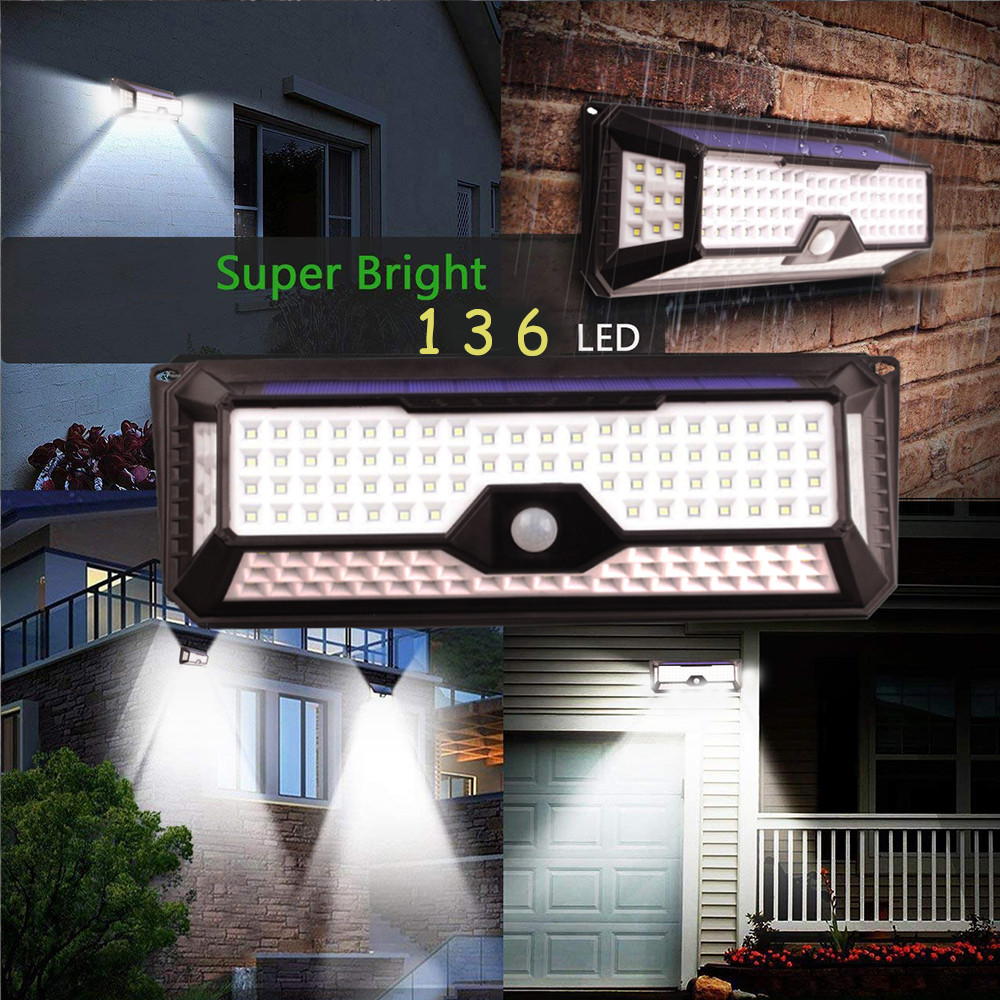Outdoor Night Light Motion Sensor 136 LED Solar Power Lamp Waterproof 3 Modes Wall Lamp for Porch Garden Street Auto Security