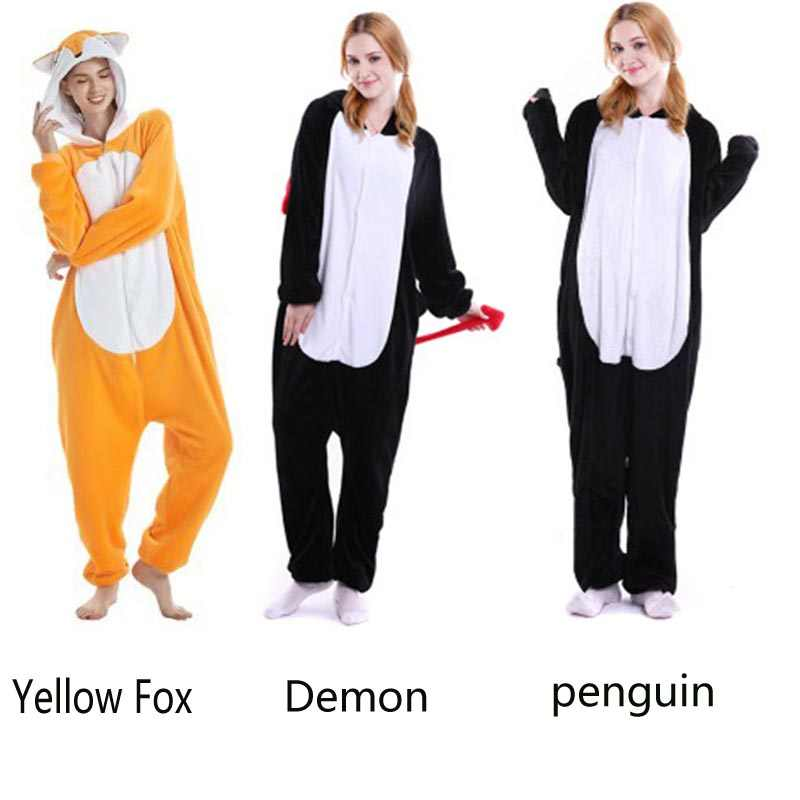 42cf59737 Adult Halloween Costume Cosplay Warm Animal Pajamas Flannel Homewaer Cartoon  Sleepwear Onesie Yellow Fox Demon Penguin