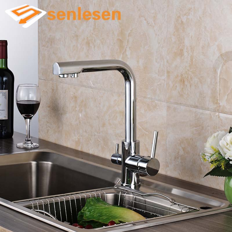 Promotion Kitchen Mixer Faucet Chrome Polished Pure Water Taps Dual Handles Single Hole us free shipping dual handles kitchen mixer tap faucet pure water filter chrome finish