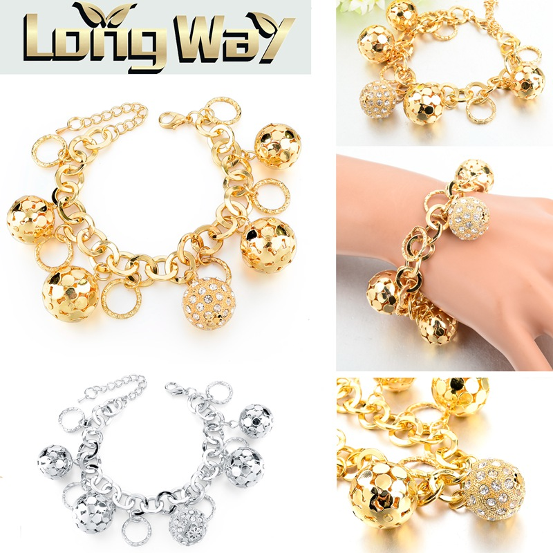 LongWay Strand Bracelet Silver Color Gold Color Bracelets with Hollow Ball Crystal For Women Bracelet Accessories SBR160023103 4