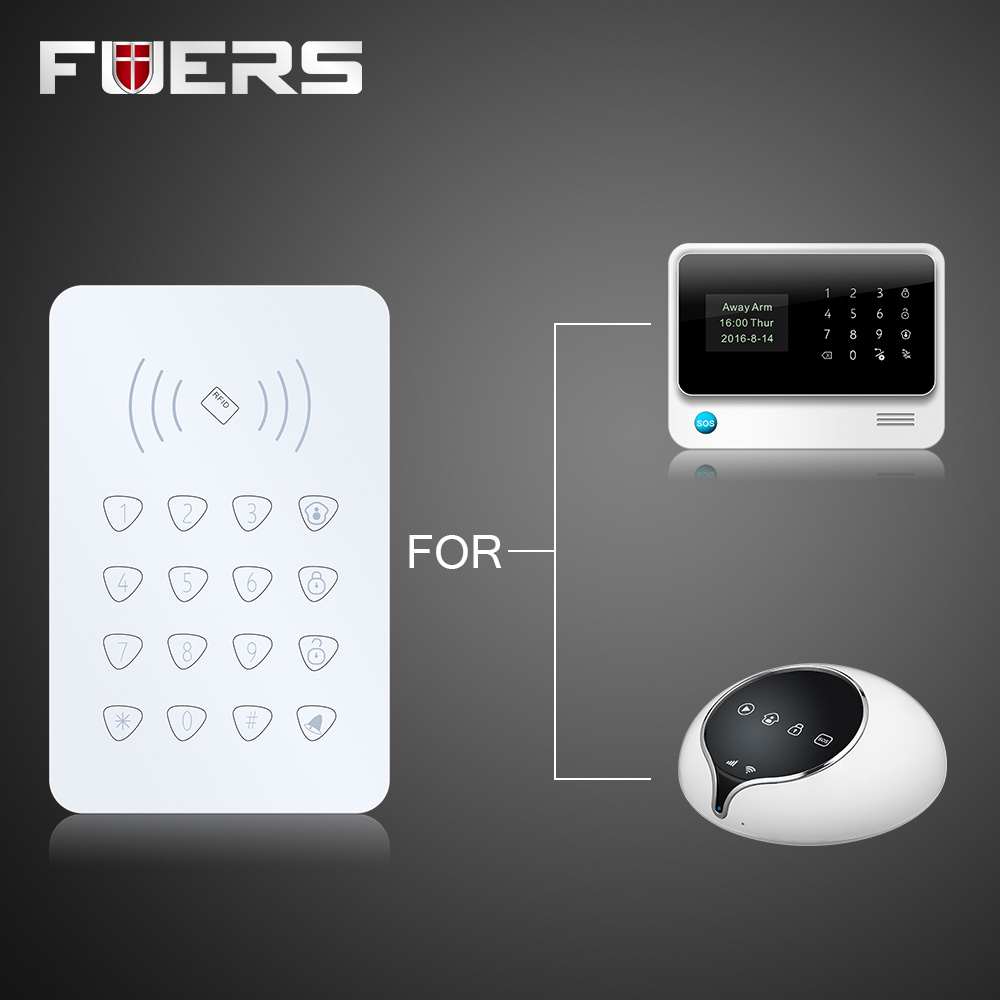 K07 Wireless RFID Touch Keyboard With 2 pcs RFID tags Password Keypad For G90B GSM Wifi Home Alarm System Security System 433MHz цена