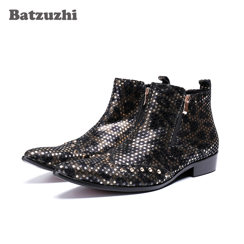 купить 2018 New Western Men Boots Pointed Toe Leather Boots Men Rock Cowboy Rivets Handsome Boots Botas Hombre Party Dress Botas, US12 по цене 6238.09 рублей