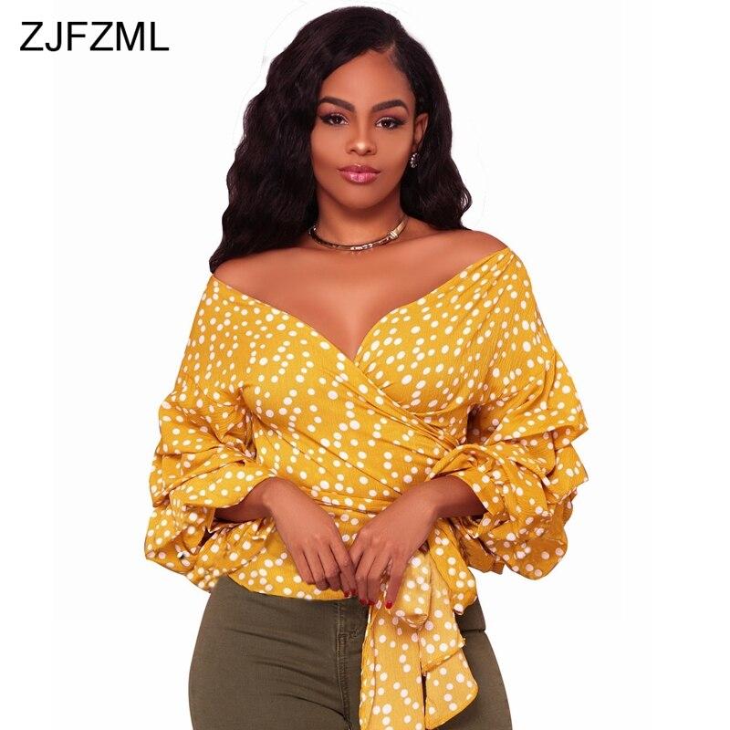 ZJFZML White Polka Dot Cotton Casual T-Shirt Women Yellow V-Neck Off The Shoulder Top Vintage 2018 Multilayer Lantern Sleeve Tee