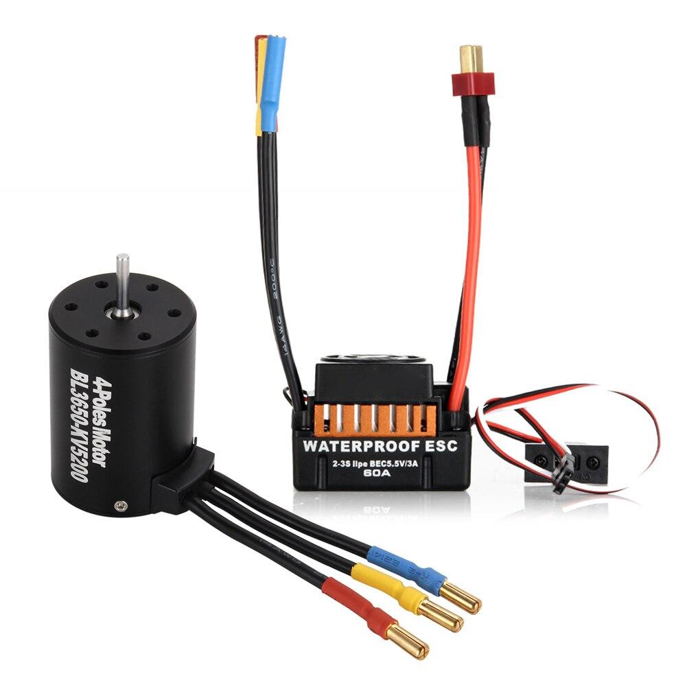Hobbypower Waterproof 60a Blushless Esc Bl3650 5200kv 4 Poles Motor Brushless Motors Wiring In Parallel For 1 10