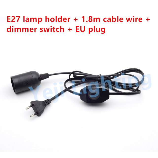 Free shipping Dimmer switch with EU plug cable wire E27 lamp holder ...
