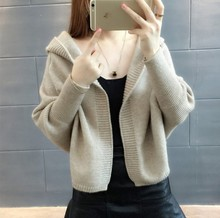 Danjeaner Autumn 2018 New Women Knitting Short Cardigan Jacket Long Sleeve Hooded Sweater Winter Batwing knitted Warm Jumpers
