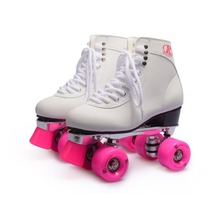 roller skating quad roller skates with pink wheels,white Aluminum alloy chassis polyurethane wheels