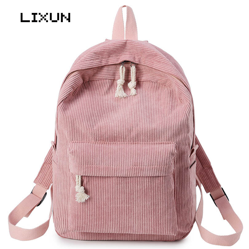 New Retro Corduroy Backpack For Women Girl Korean Simple Colour Mochila Escolar Women Backpack School Book Bag Female Rucksack han edition of the new joker food corduroy corduroy backpack male and female college students bag contracted wind backpack