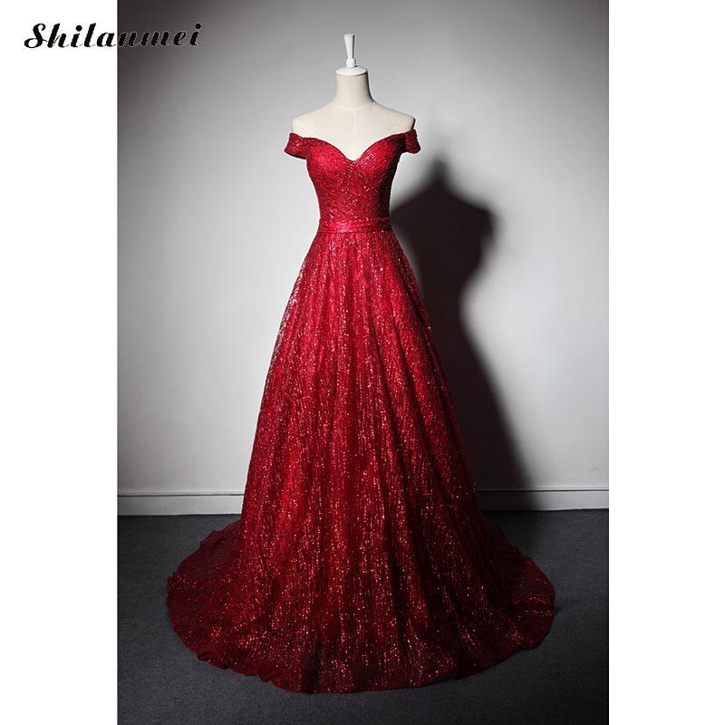 2019 Robe De soirée rouge femmes Vestidos dentelle col en V longue Robe formelle Maxi Robe épaule à manches courtes Sexy Robe De Festa