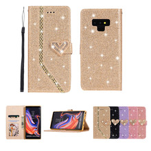 цена на Case for Samsung Galaxy Note 9 8 Cover Bling Glitter Flip Wallet Case for Samsung A5 A7 2017 A5 2016 Magnetic Leather Case Couqe