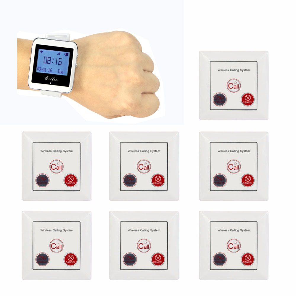 TIVDIO 1 Watch Pager Receiver+7 Call Button Wireless Calling System Restaurant Paging System Restaurant Equipment F3288B restaurant call bell pager system 4pcs k 300plus wrist watch receiver and 20pcs table buzzer button with single key