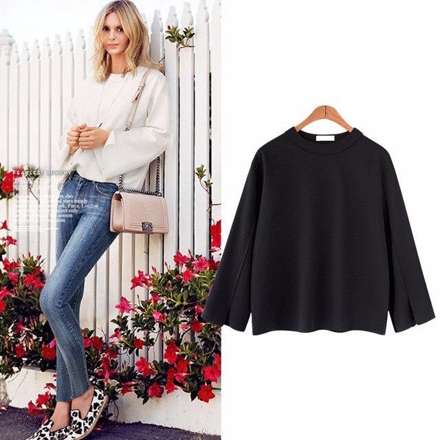 ce78570ece5 L-5XL Plus Size Casual Women T-shirts 2018 Spring Fashion Knitting  Long-Sleeve Tops Tees Autumn O-neck Big Size Female T-shirts