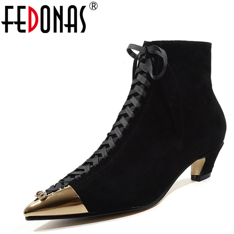 FEDONAS 1Fashion Women Ankle Boots Metal Decoration Suede Leather High Heels Shoes Woman Pointed Toe Cross