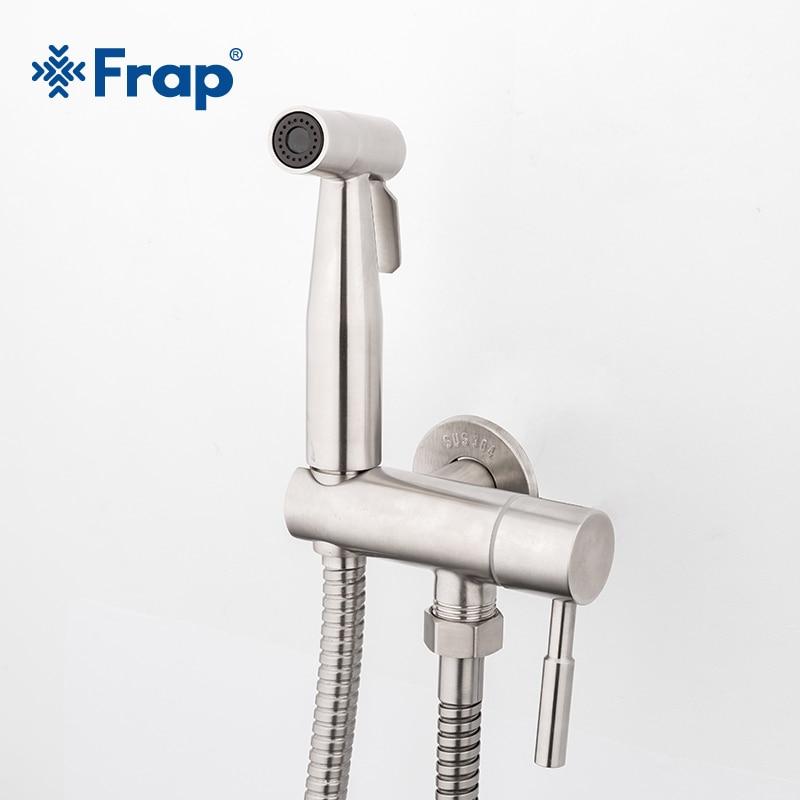 Frap nouveau 304 en acier inoxydable salle de bains Bidet pulvérisateur toilette pistolet à eau Anal propre toilette pistolet tuyau brossé pistolet à eau de toilette