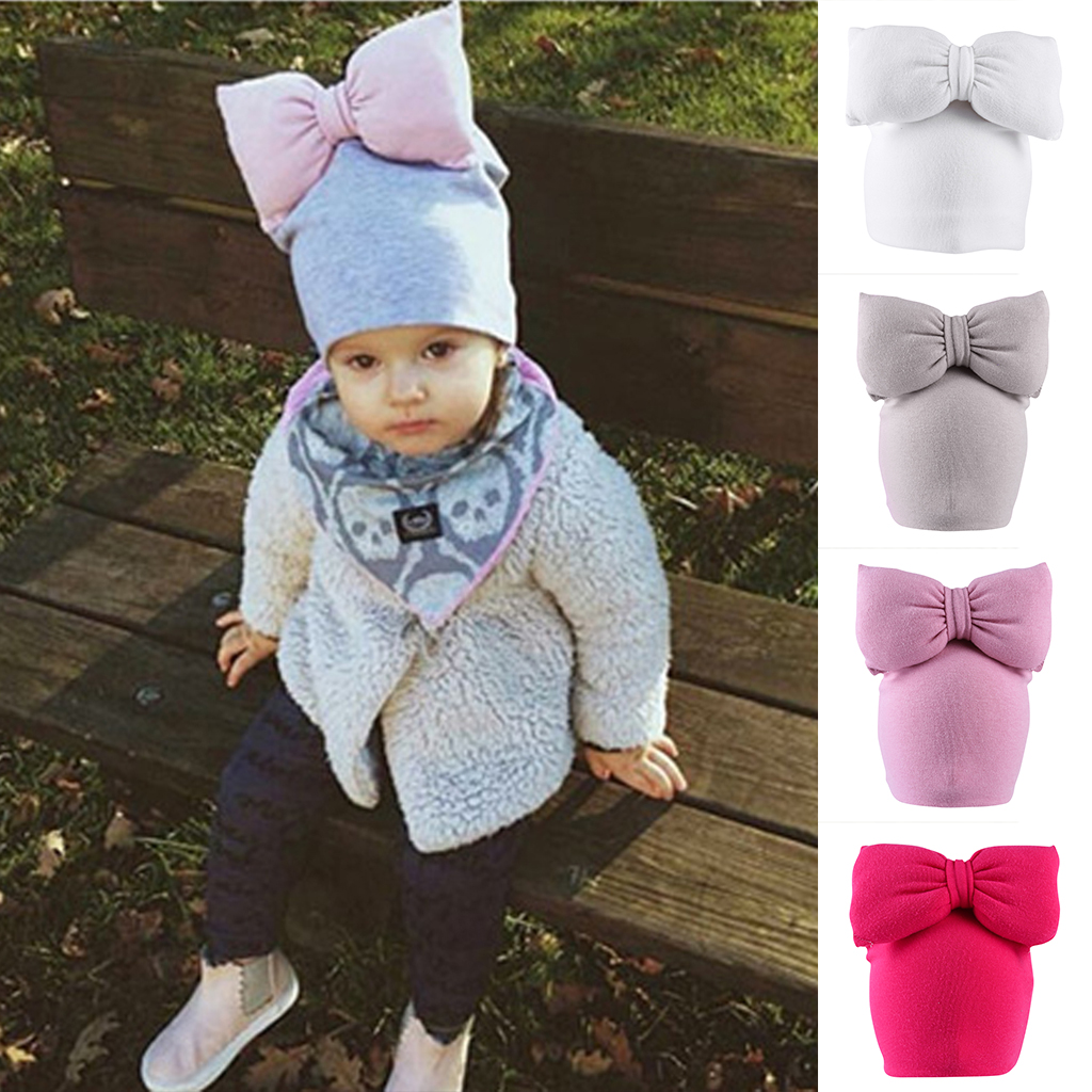 Toddler Baby Infant Girls Woolen Bow Soft Stretchy Hat Beanie Kid Photo Prop ...
