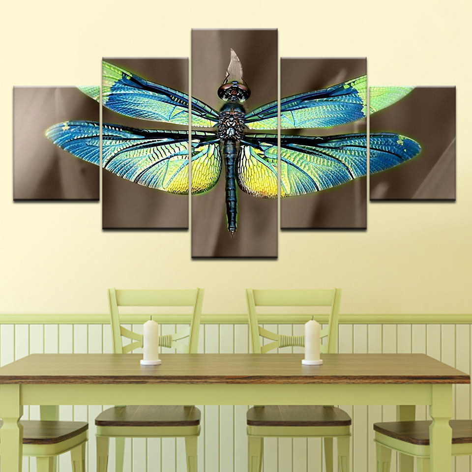 5 Panels Colored Dragonfly Wings Modern Home Wall Decor Canvas ...