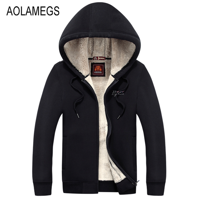 Aolamegs Men Hoodies Jacket Autumn Winter Thick Warm Couples Hoodie Plus Velvet Mens Fleece Cardigans Outwear Plus Size M/XXXL