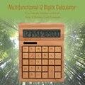 Многофункциональный бамбуковый электронный калькулятор счетчик 12 цифр на солнечной батарее для дома, офиса, школы, розничного магазина