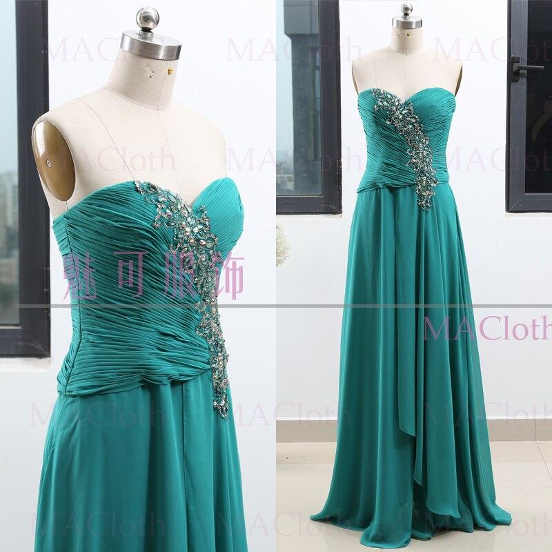 Turquoise a-ligne sans bretelles parole-longueur cristal mousseline de soie bal fête formelle robe de soirée S 261995