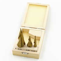 Wooden Box Packing 3pcs HSS Spiral Grooved Core Cone Step Drill Bits 1 4 Hex Shank