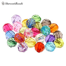 DoreenBeads 500PCs Mixed Acrylic Faceted Round Spacer Beads 6mm(2/8″) Dia.(B21782)