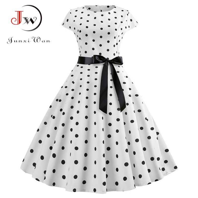 2019 New Women Vintage Dress White Polka Dot Summer Dresses Plus Size Pin Up Print Retro 50s Rockabilly Party Sundress Vestidos