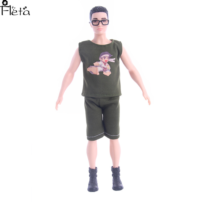 Fleta Hot Sale 4different pattern suit and glass For Barbies boyfriend Ken Doll clothes Gift Accessories