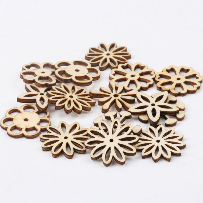 Natual Hollow Flower Pattern Craft Wooden Scrapbooking Art Collection For Handmade Accessory Sewing Home 30mm 20pcs