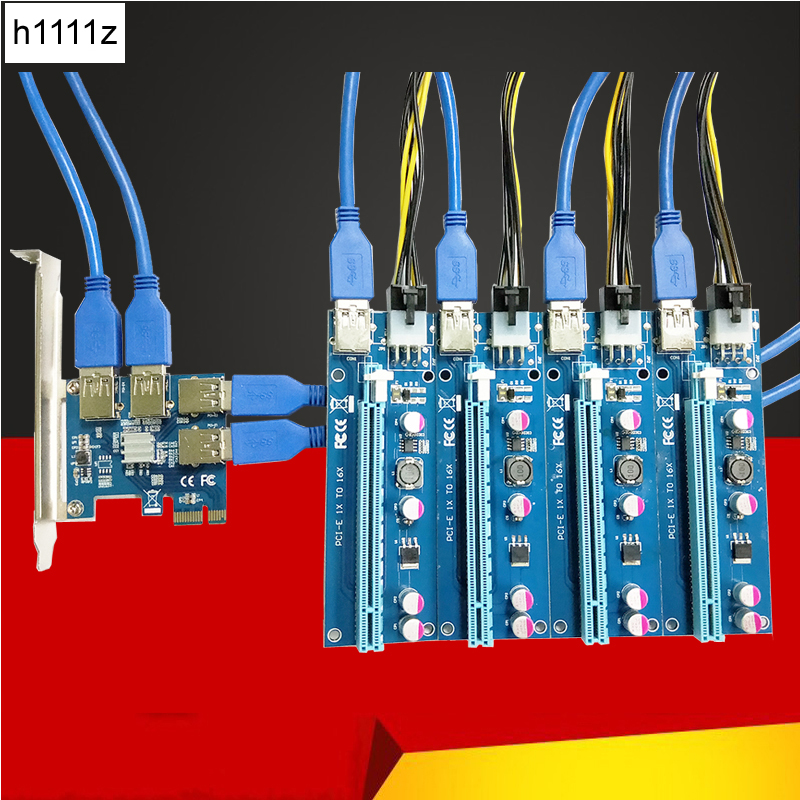 Nouveau 1 à 4 PCIe PCI-E Riser Card PCI Express 1x à 16x USB 3.0 câble de données SATA à 6Pin alimentation pour BTC Miner Machine minière