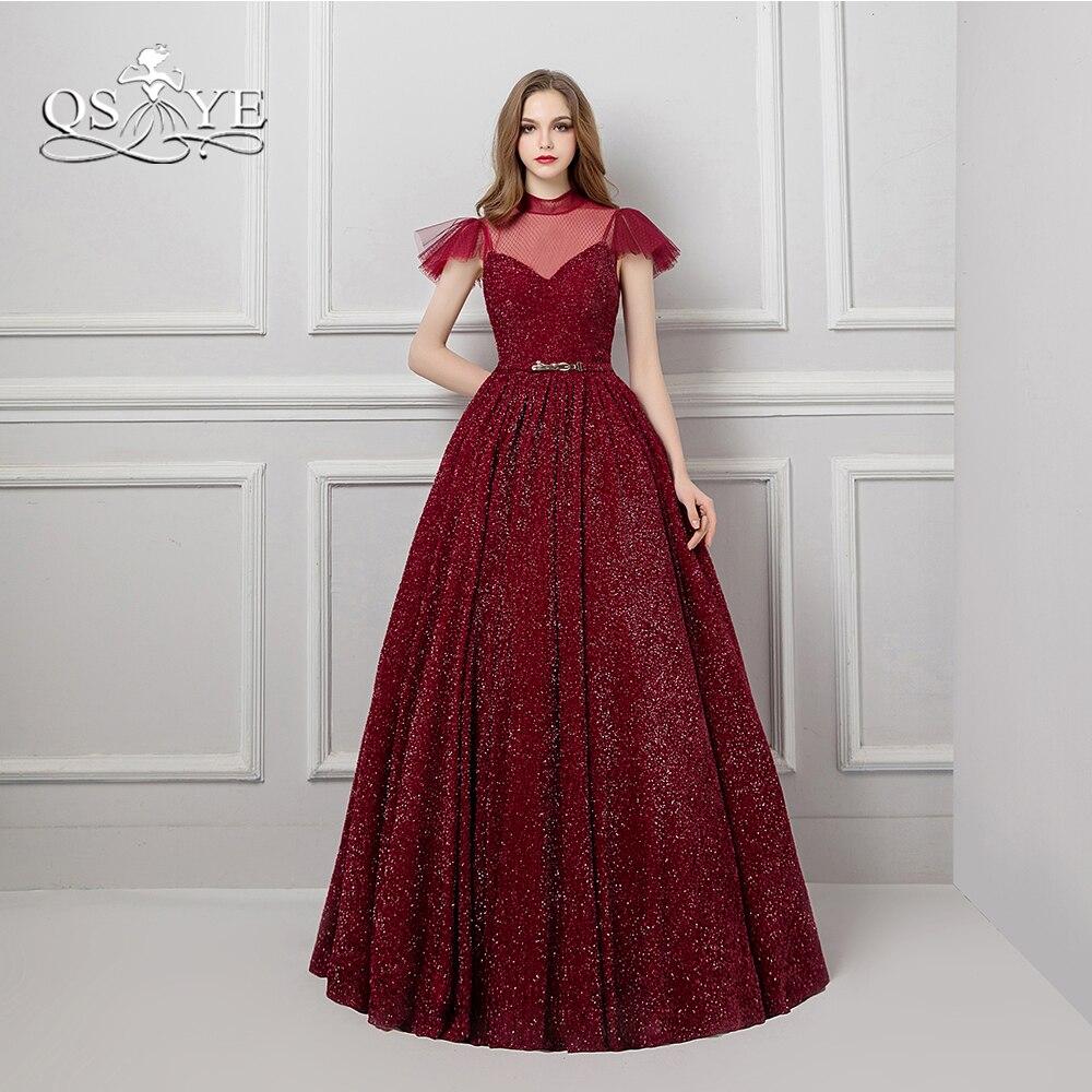 QSYYE 2018 Vintage Saudi Arabia Formal Evening Dresses Burgundy High Neck Floor Length Satin Long Prom Dress Party Gown