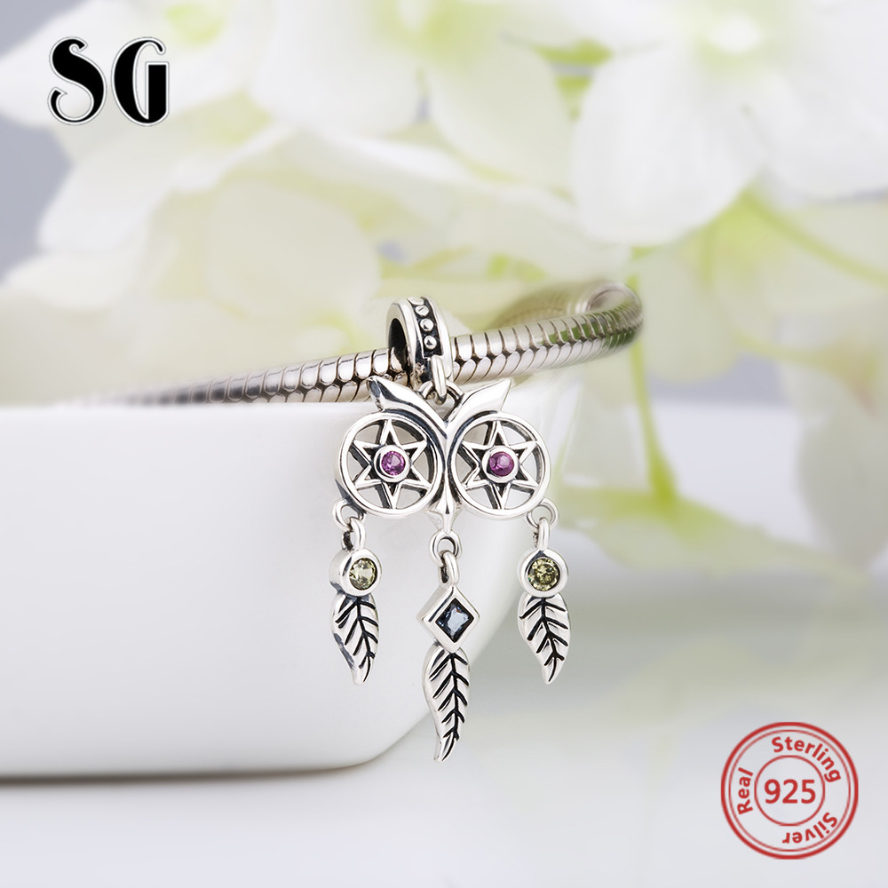 SG 925 silver owl Dreamcatcher Beads with CZ Fit original pandora charms Bracelet SPendant diy jewelry making for women gifts