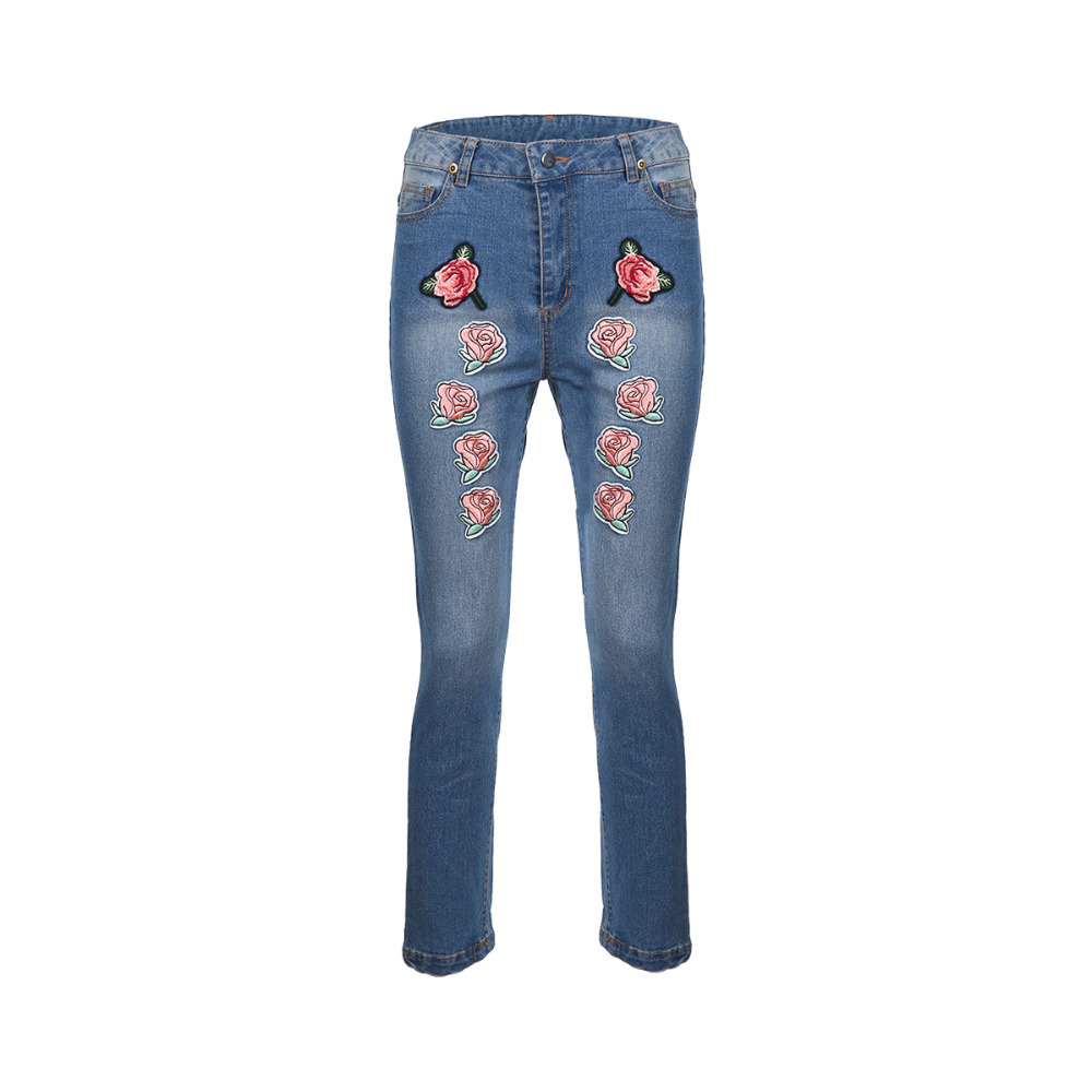 Blue bleached floral embroidered straight leg jeans for women ladies stylish vintage casual denim cigarette pants trousers women girls casual vintage wash straight leg denim overall suspender jean trousers pants dark blue