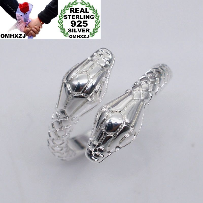OMHXZJ Wholesale European Fashion Woman Man Party Wedding Gift Silver Snake Open 925 Sterling Silver Ring RR261