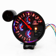5 inch 12V 4 in 1 Oil Pressure Temp Tachometer Water Gauge Red And Blue LED with Sensors 1/8NPT