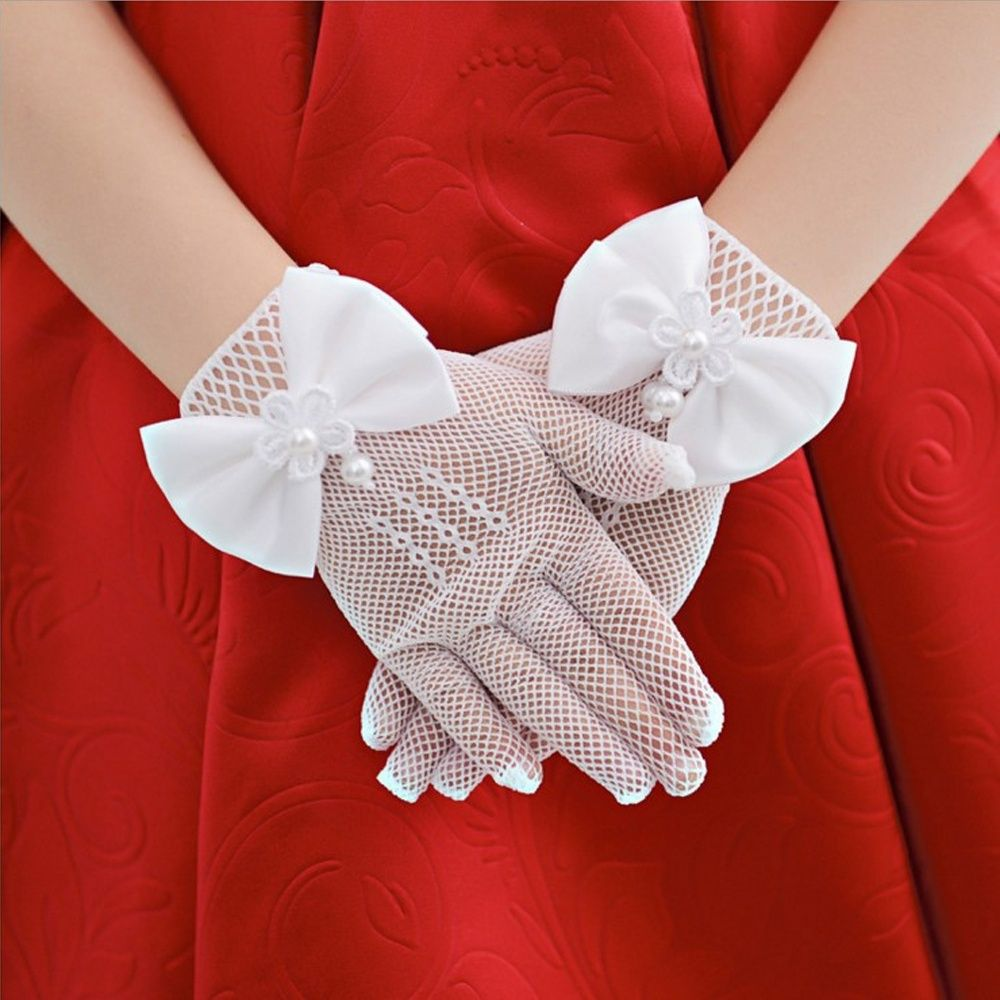 Fashion High Quality Party Cream Lace Pearl Fishnet Gloves Communion Flower Kids Girl Cute Bowknot Gloves