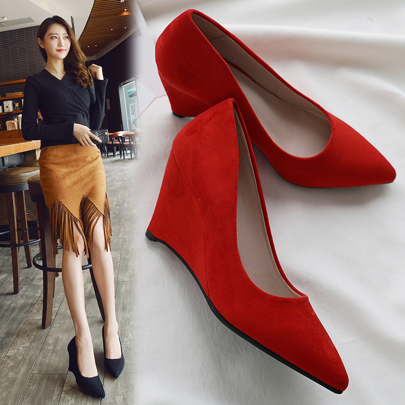SAILING LU Women Shoes Flock Solid High-Heeled Pumps Summer 2019 Fashion Pointed Toe Female Leisure Slip On Size 35-40 XWD7215 5