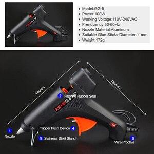 Image 2 - Бесплатная доставка, набор клеевого пистолета 100 Вт для самостоятельной сборки, черные стержни, триггер, художественное ремесло, инструмент для ремонта с подсветкой, 110 В 240 В