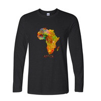 2017 Funny Graphic Funny Africa maps More fun cute pattern funny long sleeve t shirt men