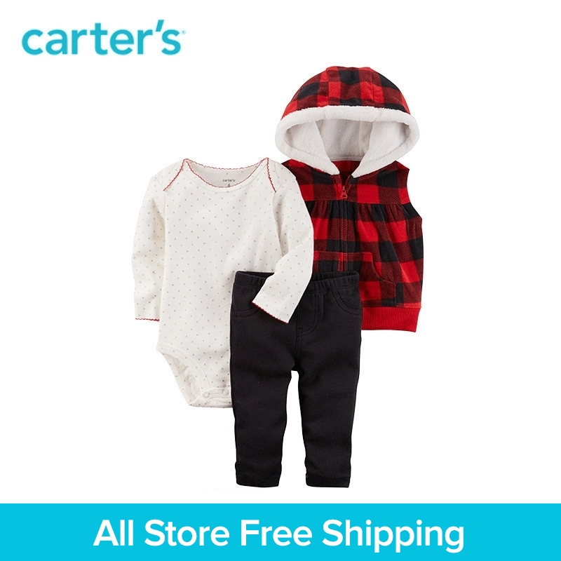 Carters 3-Piece baby children kids clothing Girl Spring & Fall Checkered Print Little Vest Set 121H932 ...