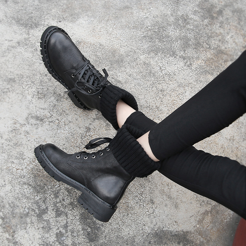 Mycolen Mujer Invierno Lace Botines Negro A Up Nuevas Marca Motocicleta De Mano Velvet Piel Plus Botas black 2018 Zapatos Martin Hechas Mujeres r7qOTr