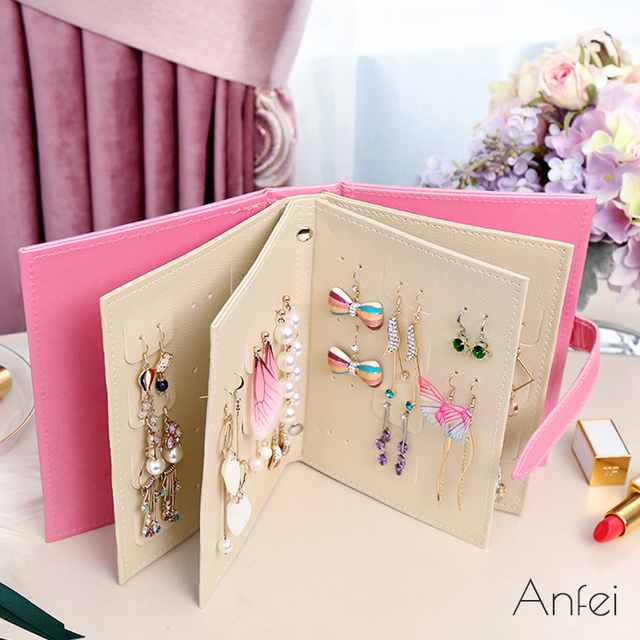 Earrings Organizer Book Jewelry Display Pendant Storage Book Travel
