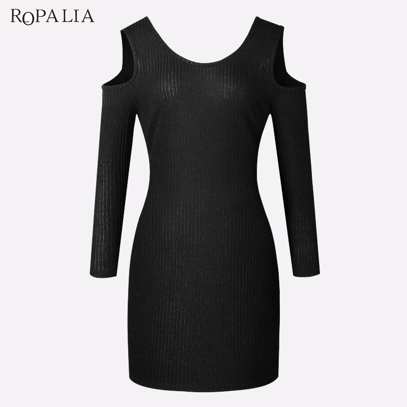 ROPALIA Spring Women Sexy Slim Dress Long Sleeve O-neck Dress Vestidos Casual Bodycon Party Sweater Mini Dresses T7