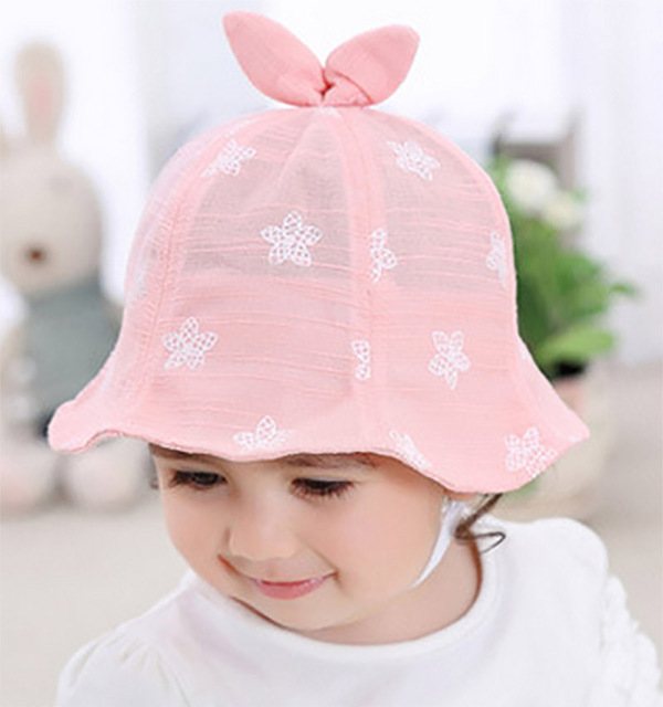 OnnPnnQ Cute Kids Sun Girls Hat Cap 5-18 Month Rabbit Ear Boys Hats  Children Cap Kids Beach Bucket Caps Summer Autumn 27d6682c9bc