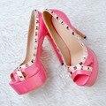 Plataforma de Bombas de alta qualidade Mulheres Elegantes Rebites Peep Toe Salto Fino Bombas Preto Rosa Quente Mulher Sapatos Plus Size EUA 4-15