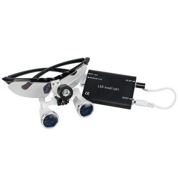 CE 3.5X420mm Dental Loupes, Surgical loupes Black with Led Head Light
