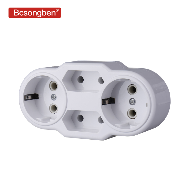 Bcsongben European Type Conversion Plug 1 TO 4 Way EU Germany Standard Power Adapter Socket 16A Travel Charging Adapter